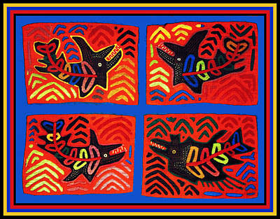 Esprit Mystique Digital Art - Cuna Indian Tribal Sharks by Witches Hammer - Virginia Vivier
