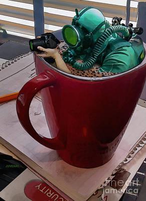 Cup O Scuba Print by Joseph Juvenal