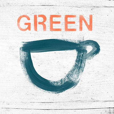 Cup Of Green Tea- Art By Linda Woods Print by Linda Woods