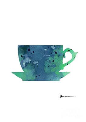 Cup Of Tea Painting Watercolor Art Print Print by Joanna Szmerdt