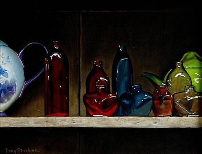 Cupboard Bottles Print by Doug Strickland