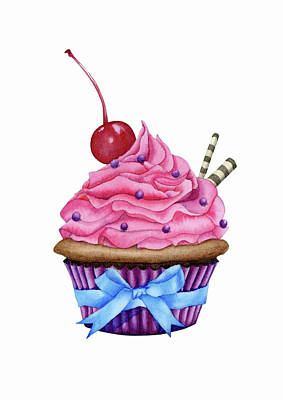 Cupcake Watercolor Print by Taylan Apukovska