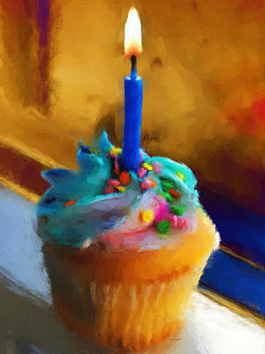 Bakeries Painting - Cupcake With Candle by Jai Johnson