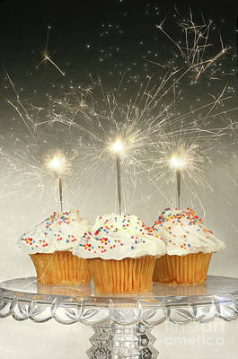 Cupcakes With Sparklers Print by Sandra Cunningham