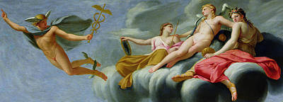 Cupid Orders Mercury To Announce The Power Of Love To The Universe Print by Eustache Le Sueur