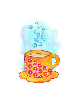 Food And Beverage Mixed Media - Cuppa Series - Latte by Moon Stumpp