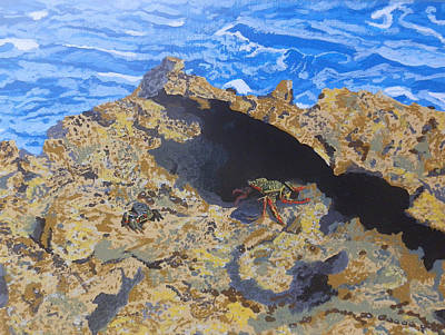 Tropics Painting - Curacao Crabs by Margaret Brooks