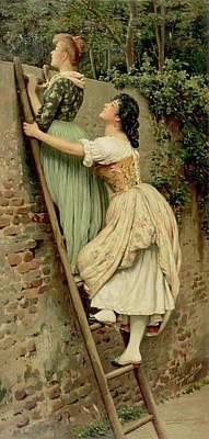 Ladder Painting - Curiosity by Eugen Von Blaas