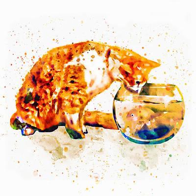 Funny Cat Digital Art - Curious Cat  by Marian Voicu