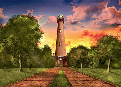 Atlantic Coast Digital Art - Currituck Beach Lighthouse 3 by Bekim Art