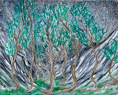 Painting - Curvy Trees by Suzanne Surber