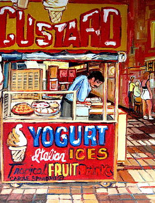 Montreal Restaurants Painting - Custard Cart by Carole Spandau
