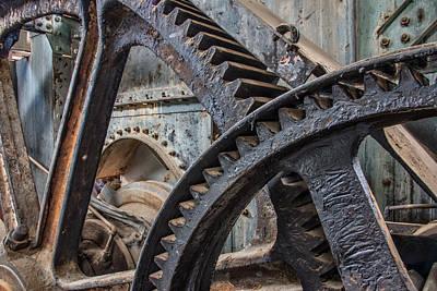Custer Dredge Gears Print by Leland D Howard