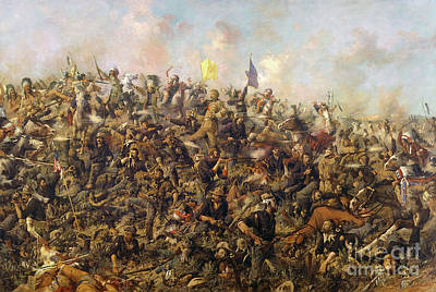 Custer's Last Stand From The Battle Of Little Bighorn Print by Edgar Samuel Paxson