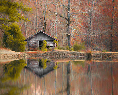 Custom Crop - Cabin By The Lake Print by Shelby  Young