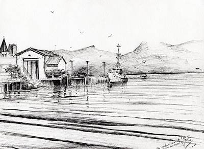 Customs Boat At Oban Print by Vincent Alexander Booth