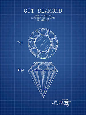 Cut Diamond Patent From 1873 - Blueprint Print by Aged Pixel