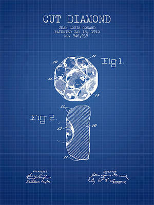 Cut Diamond Patent From 1910 - Blueprint Print by Aged Pixel