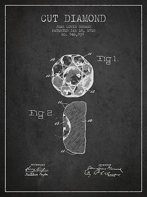 Cut Diamond Patent From 1910 - Charcoal Print by Aged Pixel