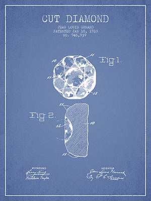 Cut Diamond Patent From 1910 - Light Blue Print by Aged Pixel