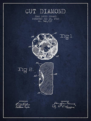 Cut Diamond Patent From 1910 - Navy Blue Print by Aged Pixel