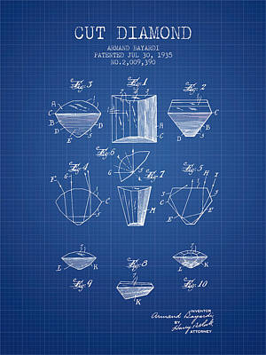 Cut Diamond Patent From 1935 - Blueprint Print by Aged Pixel
