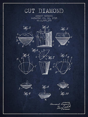 Cut Diamond Patent From 1935 - Navy Blue Print by Aged Pixel