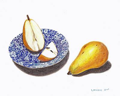 Pear Drawing - Cut Pear by Loraine LeBlanc