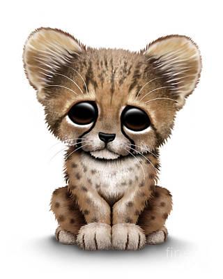 Cheetah Digital Art - Cute Baby Cheetah Cub by Jeff Bartels