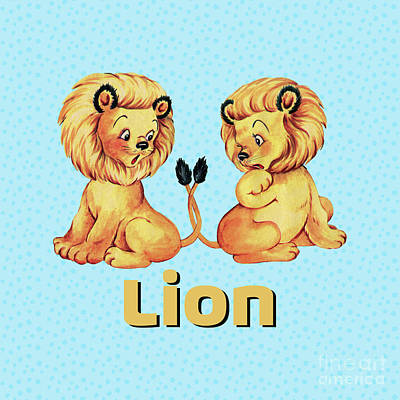 Adorable Digital Art - Cute Baby Lion Pajama Pattern Adorable Baby Animals by Tina Lavoie