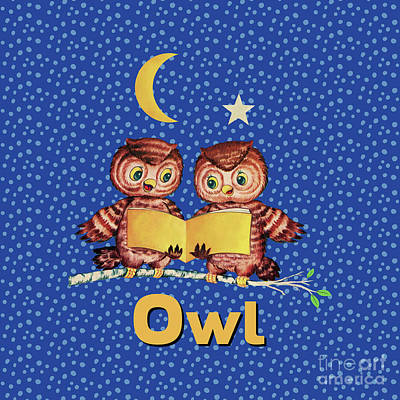 Cute Baby Owls Starry Night And Moon Print by Tina Lavoie
