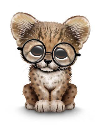 Cheetah Digital Art - Cute Cheetah Cub Wearing Glasses by Jeff Bartels