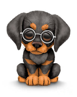 Adorable Digital Art - Cute Doberman Puppy Dog Wearing Eye Glasses by Jeff Bartels