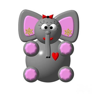 Animal Digital Art - Cute Elephant Wearing Earrings by Rose Santuci-Sofranko