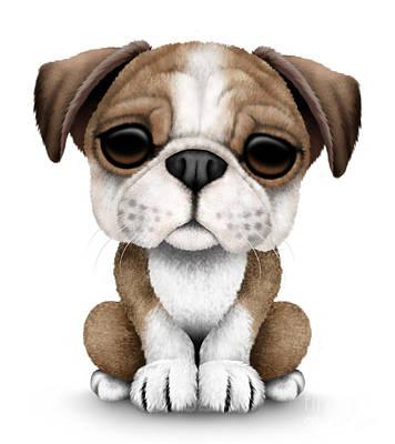 Adorable Digital Art - Cute English Bulldog Puppy  by Jeff Bartels