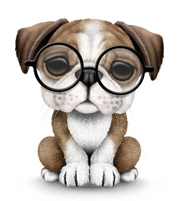 Adorable Digital Art - Cute English Bulldog Puppy Wearing Glasses by Jeff Bartels