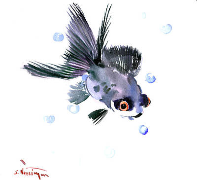 Fish Illustration Painting - Cute Fish by Suren Nersisyan