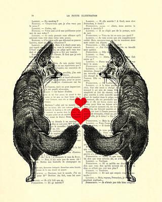 Fox Digital Art - Cute Foxes by Madame Memento