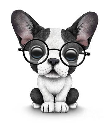 Adorable Digital Art - Cute French Bulldog Puppy Wearing Glasses by Jeff Bartels