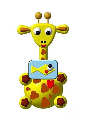 Cute Giraffe With Goldfish Print by Rose Santuci-Sofranko