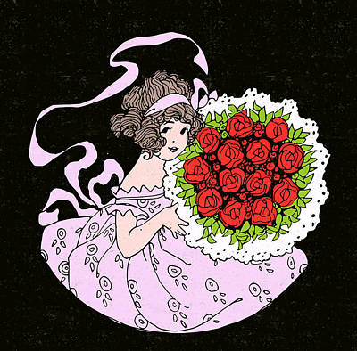 Red Painting - Cute Girl With Flower Bouquet Art - Vintage Rose Prints by Wall Art Prints