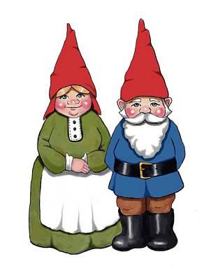 Mixed Media - Cute Gnome Couple by Joyce Geleynse