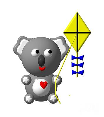 Koala Digital Art - Cute Koala With Kite by Rose Santuci-Sofranko