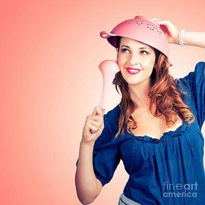 Cute Pinup Cook Thinking Up Colander Cooking Idea Print by Jorgo Photography - Wall Art Gallery