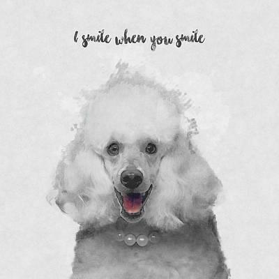 Cute Dog Mixed Media - Cute Poodle Art by Bekare Creative