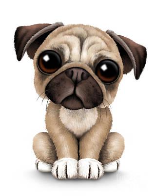 Adorable Digital Art - Cute Pug Puppy Dog by Jeff Bartels