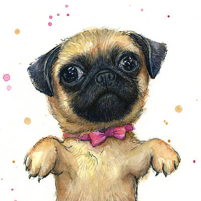 Funny Dog Painting - Cute Pug Puppy by Olga Shvartsur