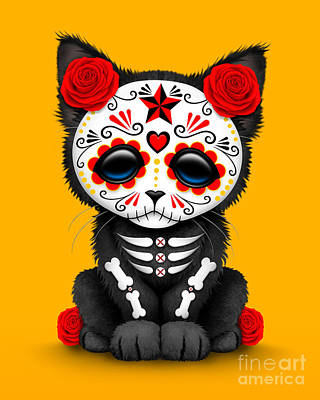 Cute Red Day Of The Dead Kitten Cat On Yellow Print by Jeff Bartels