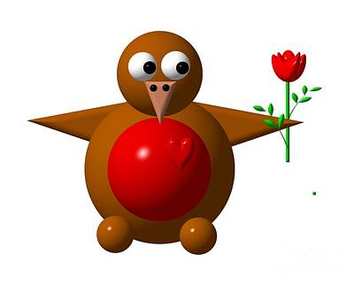 Robins Digital Art - Cute Robin With Rose by Rose Santuci-Sofranko