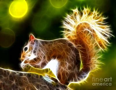 Squirrel Mixed Media - Cute Squirrel by Pamela Johnson